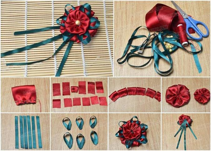 ribbon flower brooch