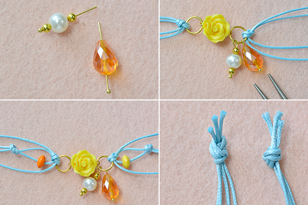 How to Make a Spring Fashion Blue Waxed Cord Bracelet with Polymer Clay Flower (3)