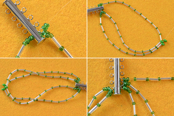 tutorial-on-how-to-make-bulge-beads-bracelet-with-green-2-hole-seed-beads7