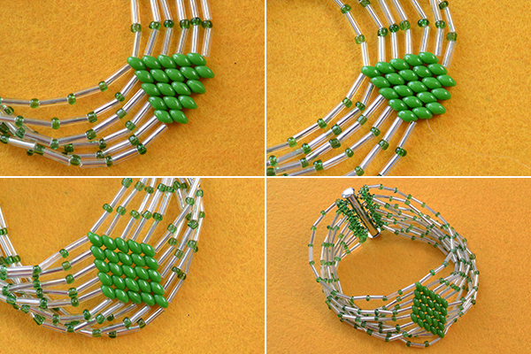 tutorial-on-how-to-make-bulge-beads-bracelet-with-green-2-hole-seed-beads9